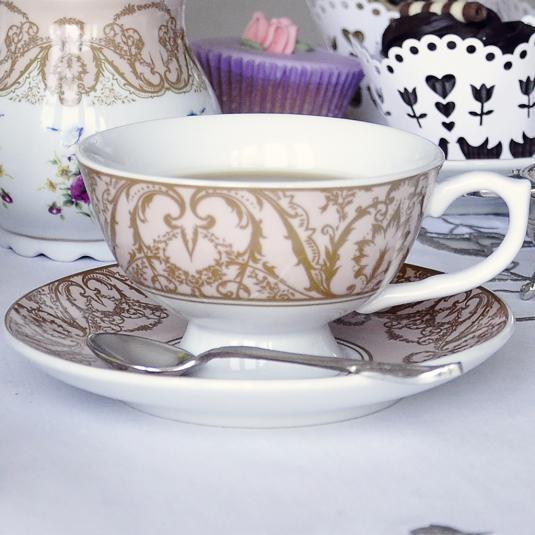 Pink Regency Teacup with Saucer