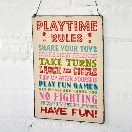 Playtime Rules Hanging Metal Sign