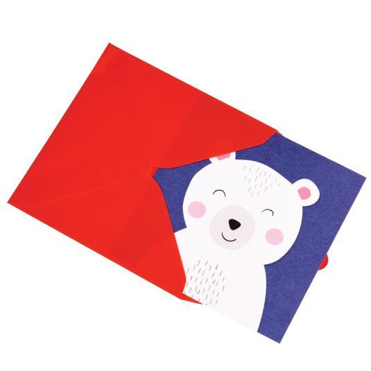 Polar Bear Animal Friend kids greetings Card blank with envelope