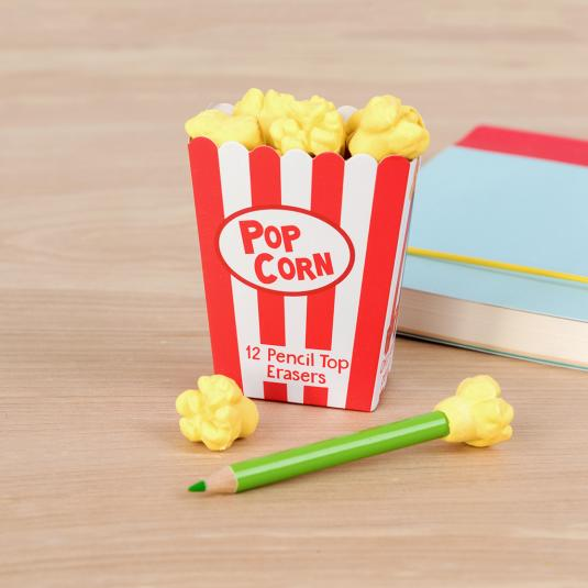 Set of 12 Popcorn Pencil Top Erasers