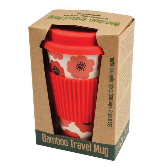Poppy reusable Bamboo Travel Mug red