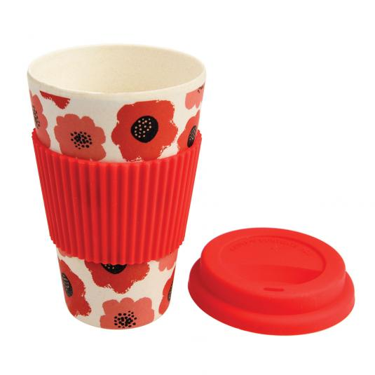 red Poppy Bamboo Travel Mug