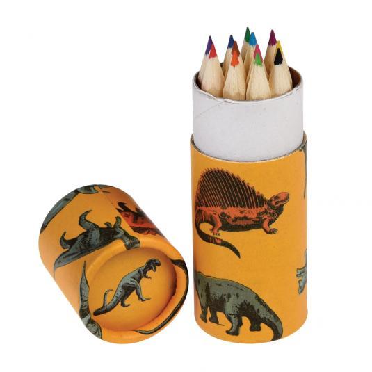 12 colouring pencils in dinosaur design