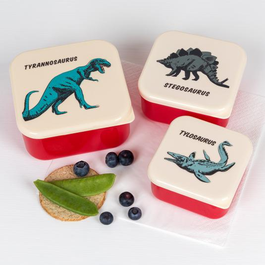 Set of three nesting snack boxes with hand drawn dinosaur illustrations