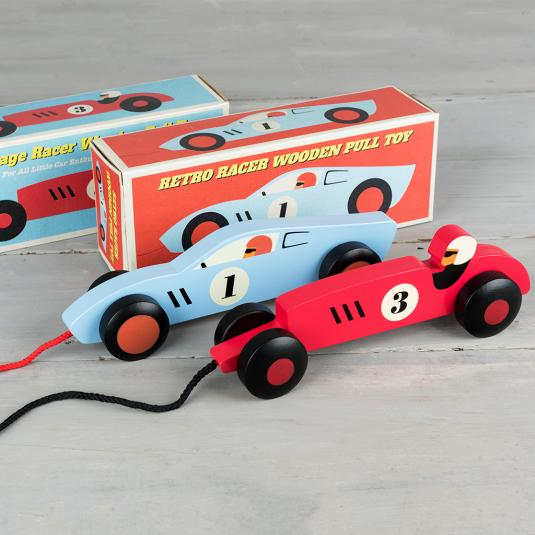 red and blue wooden racing car pull toys with retro style gift boxes
