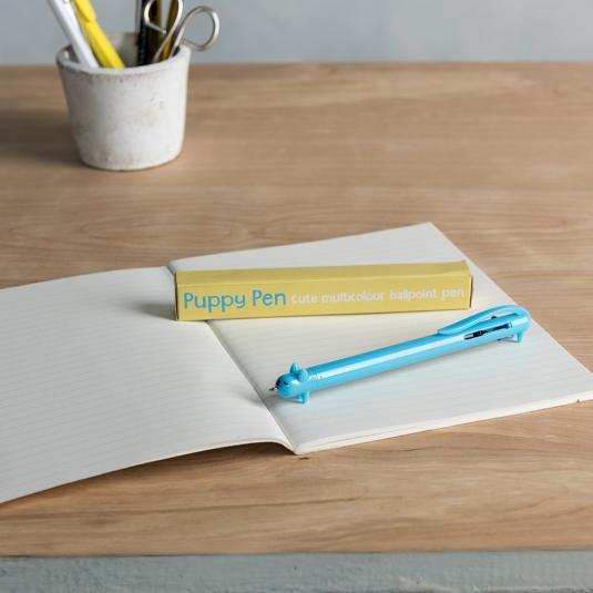 Blue Puppy Tricolour Pen
