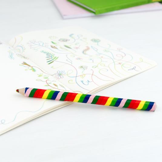 Giant multi-coloured rainbow pencil
