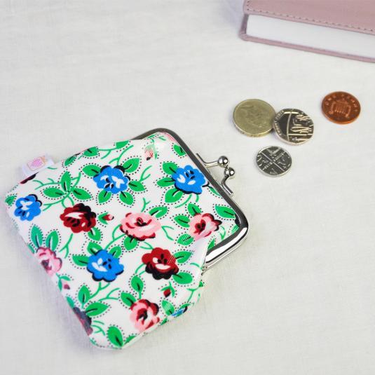 Rambling Rose Oilcloth Coin Purse