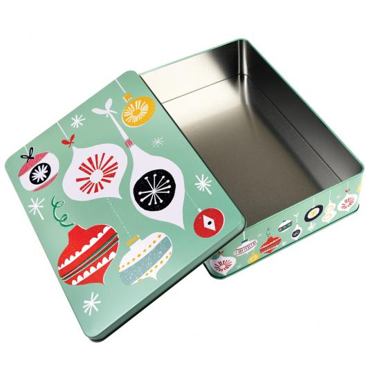 Christmas cake and biscuit tin in mint green bauble printed