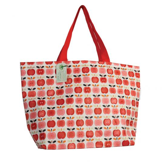 Red Apple Print Recycled Plastic Beach Bag