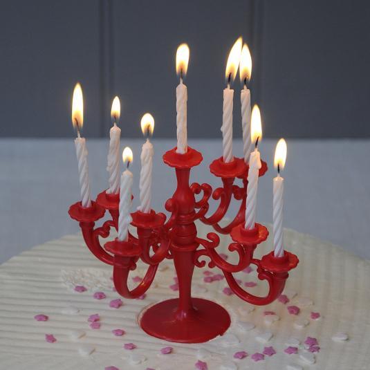 Birthday Cake Candles with Red Candelabra