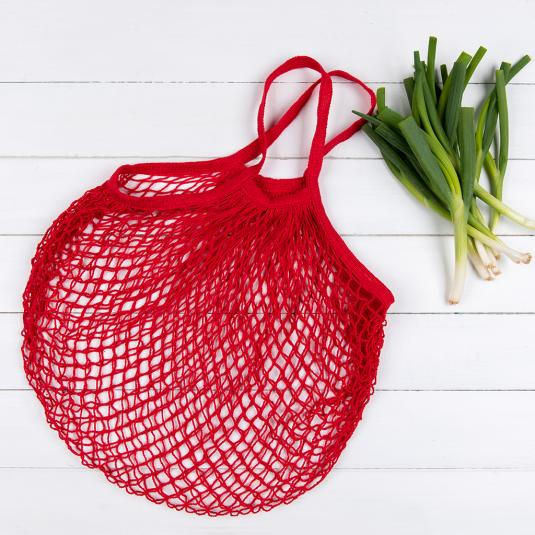 Red Cotton French Style Shopping Bag