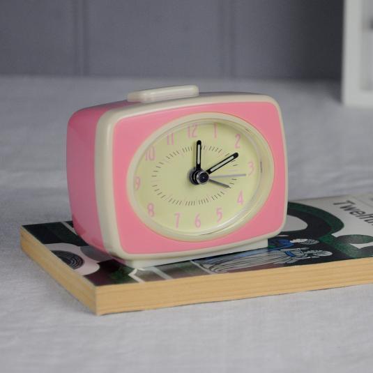 Retro Tv Style Pink Alarm Clock