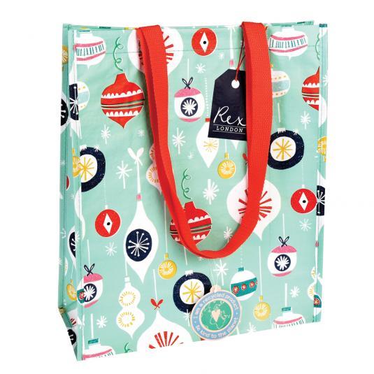 Christmas baubles print mint green reusable Shopping bag