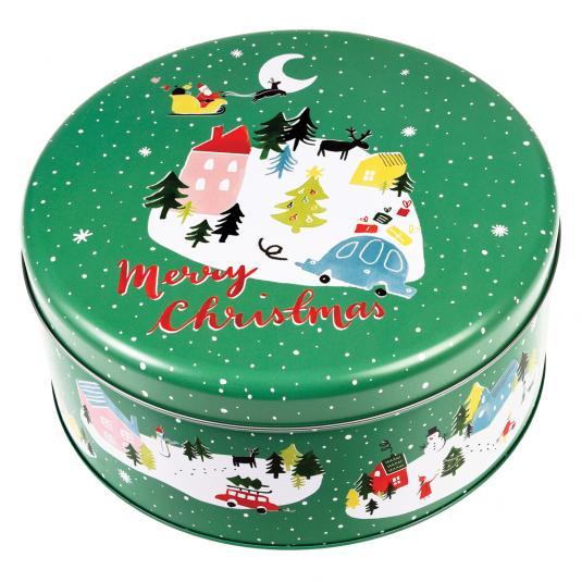green Christmas cake tin