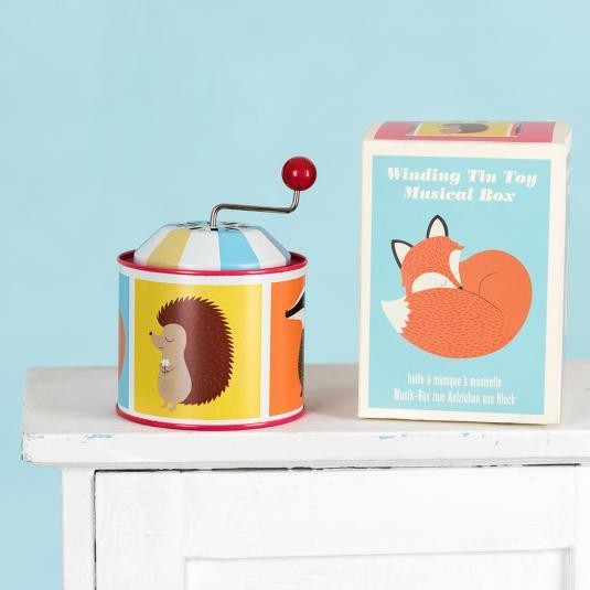 Woodland animals winding tin music box for children