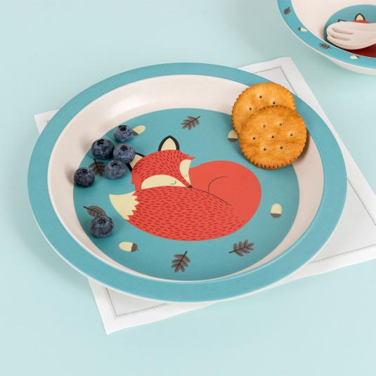 Rusty the Fox bamboo plate for kids