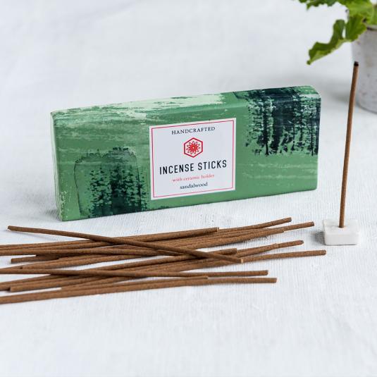 Sandalwood Incense Sticks And Holder (50 Sticks)