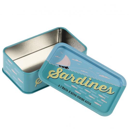 Blue Sardines Can Metal Trinket Box