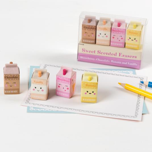 Set of four scented milkshake erasers
