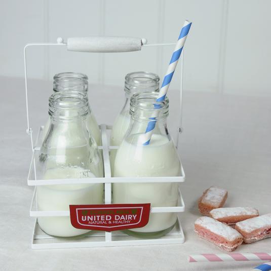 White Retro Mini Milk Bottle Holder