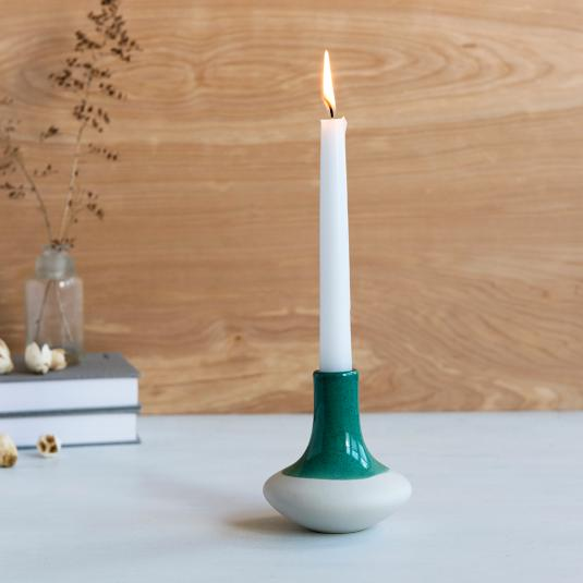 Sea Green Dipped Candle Holder