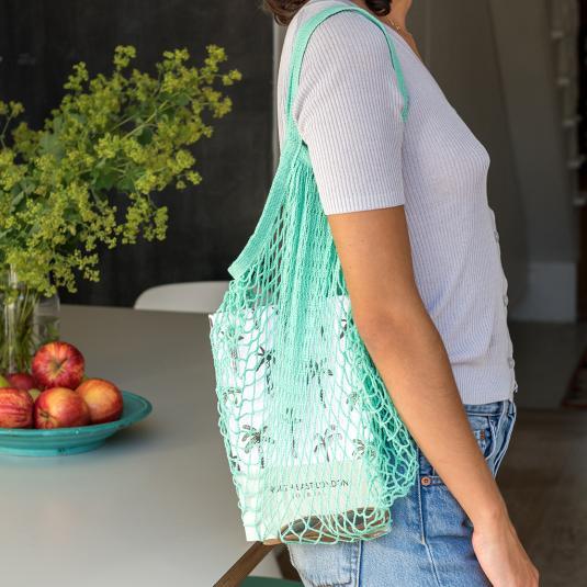 sea green cotton net string shopping bag