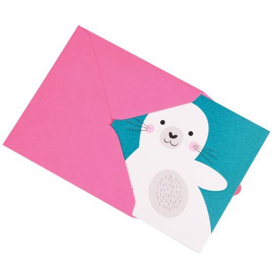baby Seal Animal Friend kids greeting Card in pink envelope