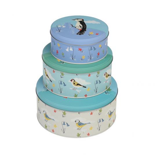 Set Of 3 Garden Birds Storage Tins