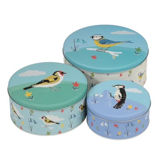 Set Of 3 Garden Birds Cake Tins