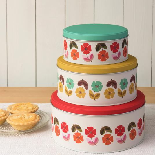 Set Of 3 Mid Century Poppy Stacking Cake Tins