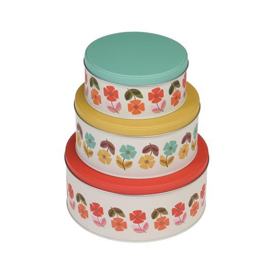 Set Of 3 Mid Century Poppy Cake Tins