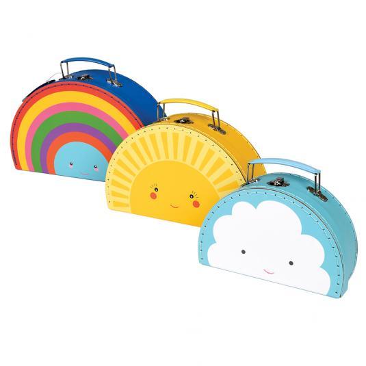 Set Of 3 rainbow, sun and cloud kids mini storage boxes