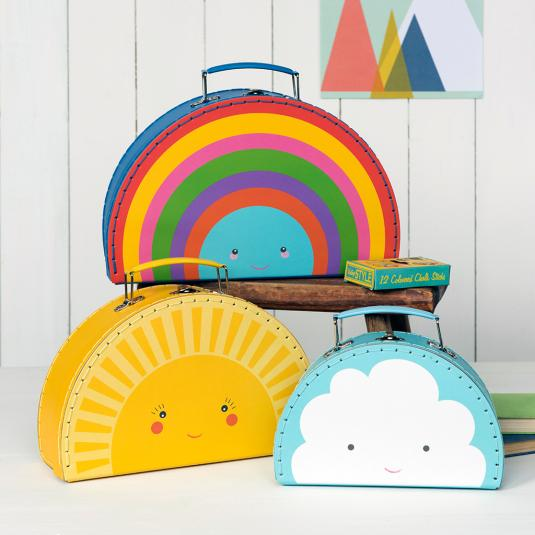 rainbow, sun and cloud decorative storage mini suitcases