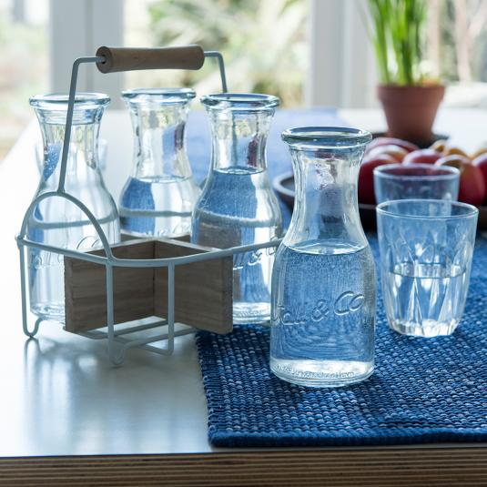 Set Of 4 Glass Carafes In Carrier