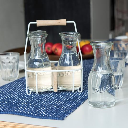 Set Of 4 Glass Water Carafes In Carrier