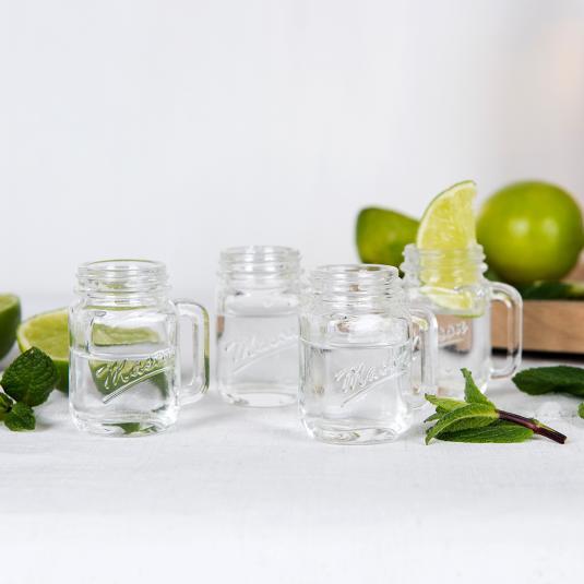 Set Of 4 miniature Mason jar shaped Shot Glasses