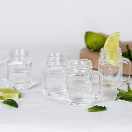 Set Of 4 clear glass mug shaped Shot Glasses