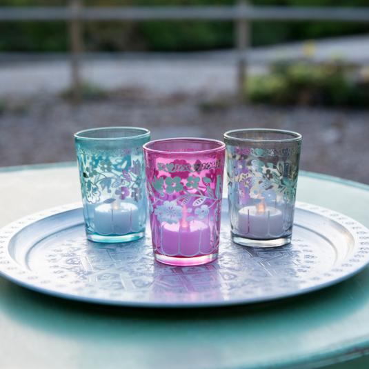Set Of 6 Coloured Souk T-light Candle Holders