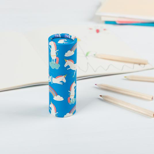set of 12 kid's colouring pencils in a blue unicorn and rainbow print tube