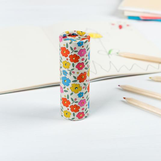 Set of 12 colouring pencils in a floral tube