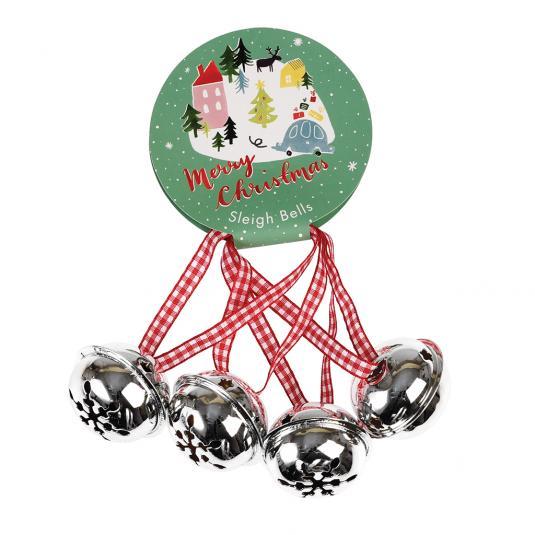 Set of 4 silver Jingle Bells