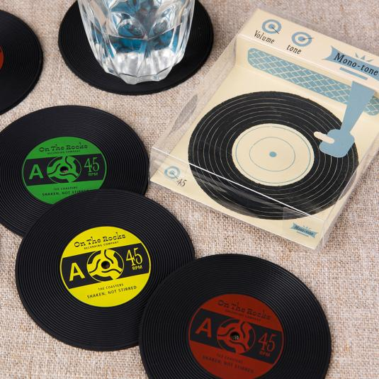Set Of Six Silicone Record Coasters