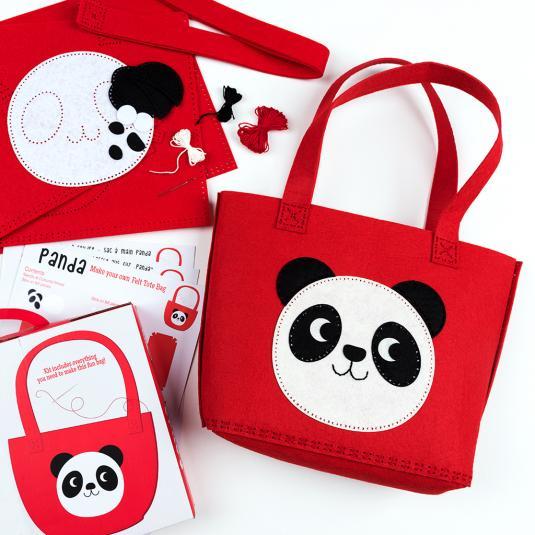 make Your Own Miko Panda red Tote Bag kit