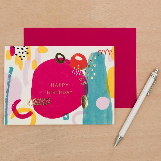 colourful abstract print happy birthday card with a pink envelope