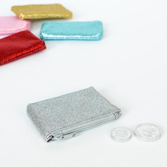 Sparkly silver coin purse