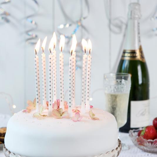 Prime Silver Party Candles Pack Of 10 Rex London Dotcom Tshop Funny Birthday Cards Online Amentibdeldamsfinfo