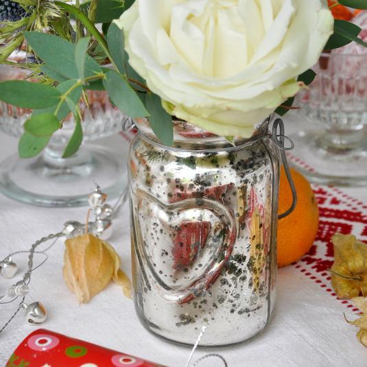 Silvered Jam Jar Tealight Holder
