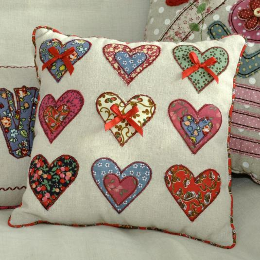 Patchwork Hearts Cushion