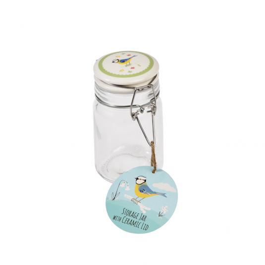 Small Blue Tit Design Glass Jar